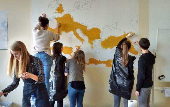 Kaart van Romeinse rijk in de klas